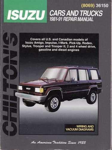 chilton car manuals free download 1992 isuzu rodeo spare parts catalogs holden rodeo jackaroo isuzu 1981 1991 workshop manual