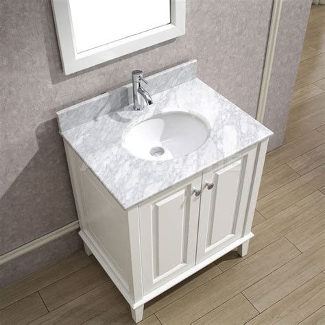 Art Bathe Lily 30 White Bathroom Vanity, Solid Hardwood