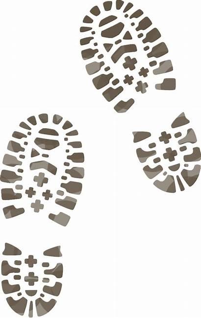 Boot Clipart Hiking Muddy Footprint Boots Prints