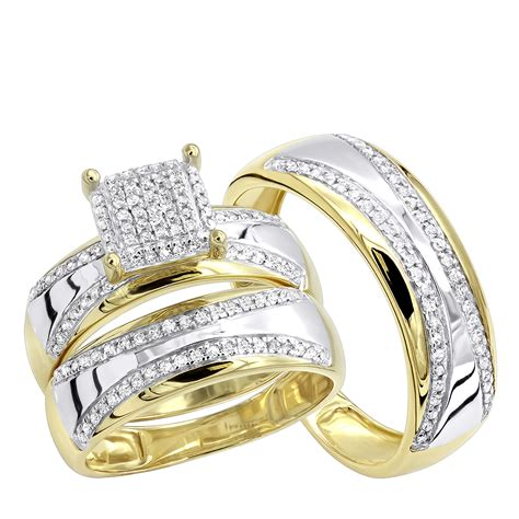 two tone 10k gold wedding band and engagement ring set