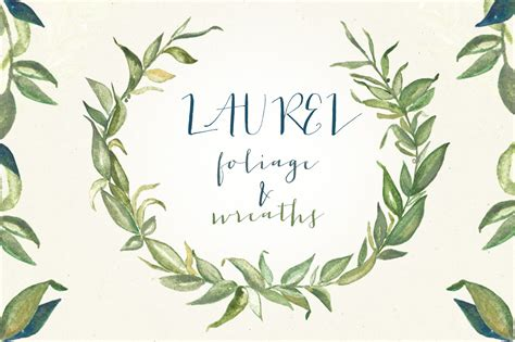 watercolor clipart laurel wreath pencil and in color watercolor clipart laurel wreath