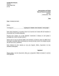 lettre de demande de devis 224 un notaire montant des