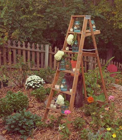 Used Garden Decoration by Outdoor Garden Decorations Made Of Wooden Ladders
