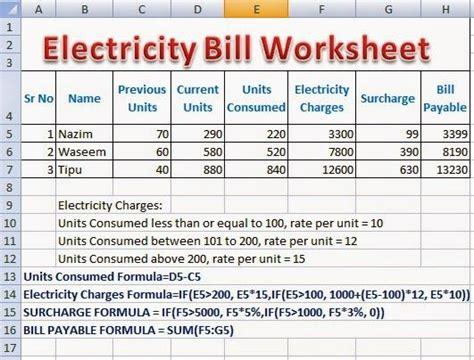 electricity bill calculator formulas  excel perfect