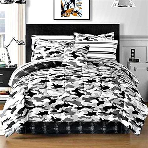 modern camo black gray white camouflage full bed   bag  piece bedding set fire fly camo