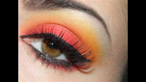 tropical sunset red orange  yellow eyeshadow