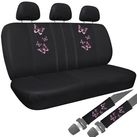 Bench Seat Covers For Cars by Car Seat Covers Pink Butterfly 8pc Bench For Auto W Belt