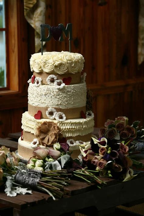 4 Tier Country Style Wedding Cake With Burlap Ribbon And