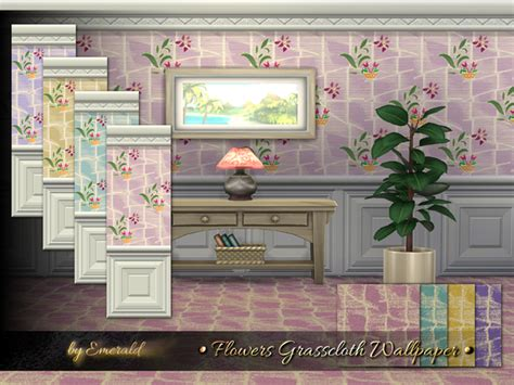 flowers grasscloth wallpaper  emerald  tsr sims