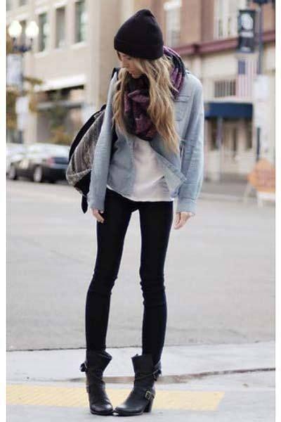 schwarze hose kombinieren damen streetstyle mit jeanshemd 400x600 1371692 autumn schwarze hose styling ideen