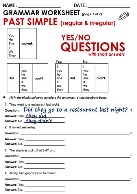 Yes  No Questions (past)  All Things Grammar