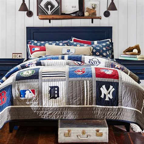 baseball themed bedding mlb quilt sham pbteen 1494