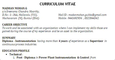 Power Plant Instrumentation Engineer Resume by Resume Formats Best Resume Sle For Post Diploma In