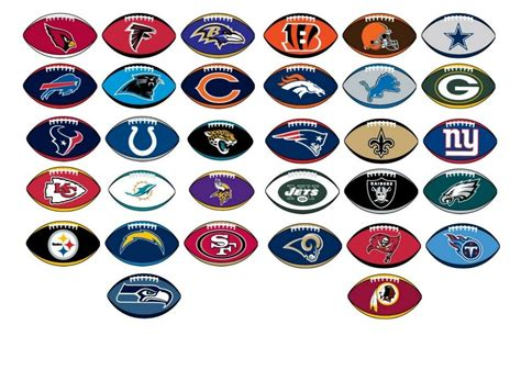 nfl licensed decal stickers football shape complete set    teams ebay