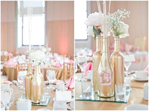 Gold Painted Wine Bottle Diy Wedding Centerpieces With