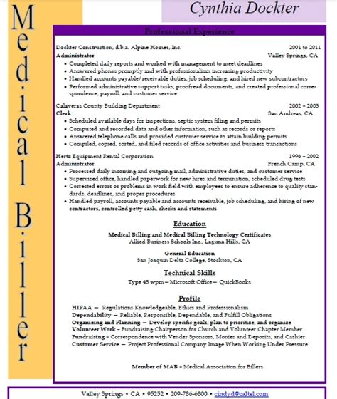 Exle Of Billing And Coding by Billing And Coding Resume Sle Sle Resumes
