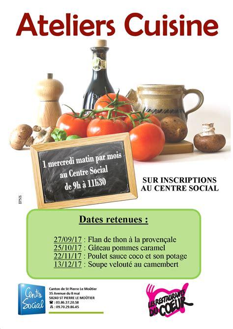 ateliers cuisine accueil centre social du canton de st le moûtier