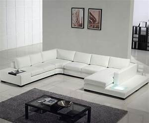 modern white top grain leather sofa modern sofas los With sectional sofa built in tables
