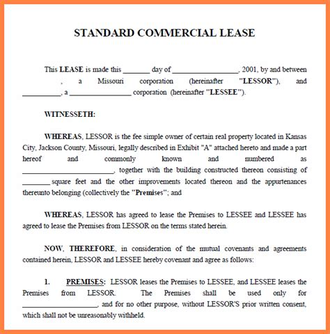 commercial property lease agreement template purchase