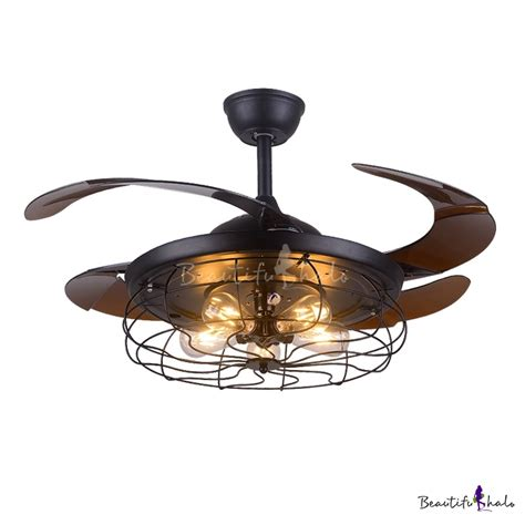 ceiling fan with cage light industrial fan ceiling light fixture metal cage with abs