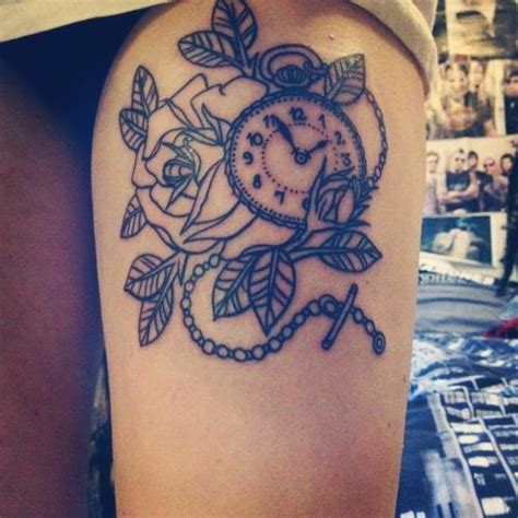 clock  thigh rose tattoo