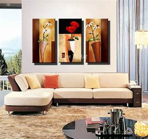 3 panel hd print cheap decorative flower abstract modern With modern living room wall decor