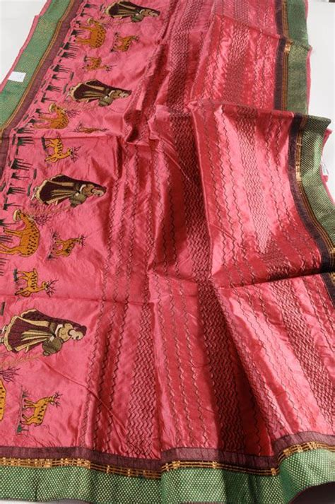 silk  heavy embroidery lady deer red embroidery