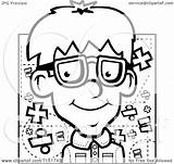 Nerdy Boy Coloring Cartoon Nerd Pages Clipart Outlined Vector Cory Thoman Emoji Template Royalty sketch template
