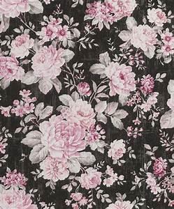 vliestapete rasch blumen vintage schwarz rosa 516036 With balkon teppich mit rasch tapeten küche