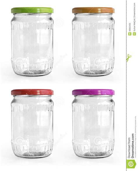 pot en verre vide avec le couvercle en aluminium au dessus du fond blanc image stock image