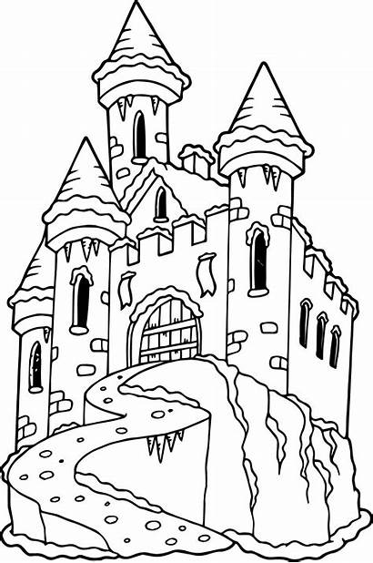 Castle Coloring Pages Frozen Printable Drawing Disney