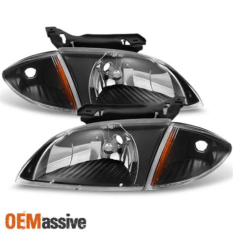 Fit Chevy Cavalier Black Headlights