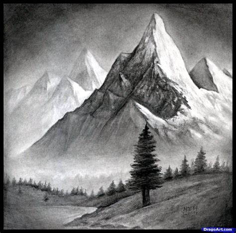 Simple Mountain Drawings Photo by How To Draw A Realistic Landscape Draw Realistic