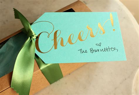 Tiffany Blue And Gold Cheers Wedding Favors Tags