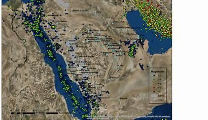 Sea Saudi Arabia Coast Seismic West Map