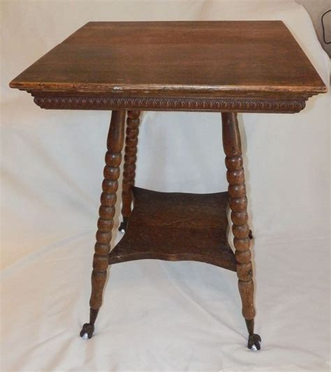Antique Oak Wood Parlor Table W Glass Ball Claw Foot W