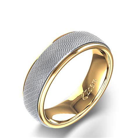 wedding ring connectors alliance pour homme design vintage volute deux tons en or 14k 9939