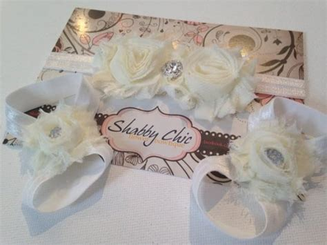 simply shabby chic curtains white chiffon floral barefoot sandals headband set chiffon flower baptism