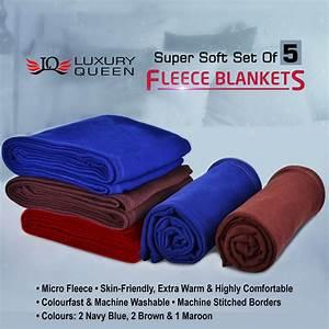 Buy Set of 5 Fleece Blankets Online at Best Price in India