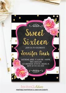Flower Invitations Templates Free Floral Sweet 16 Invitation Black White Stripe Sweet