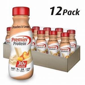 Premier Protein Shake  Peaches  U0026 Cream  30g Protein  11 5 Fl Oz  12 Ct - Walmart Com