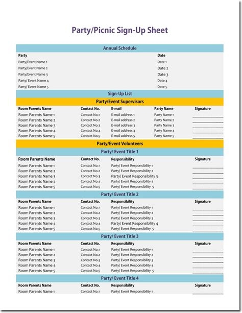 signup sheet templates  sheets  types word excel