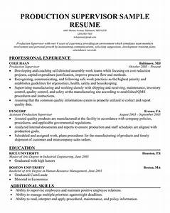 example resume sample resume production supervisor With resume samples for supervisor positions