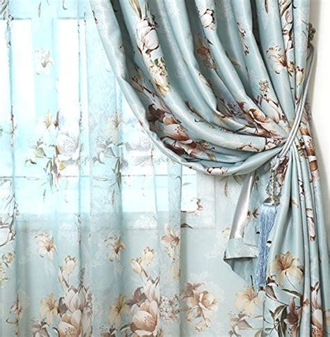 blue floral window curtain drape panels ease bedding