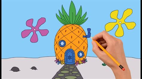 How To Draw Spongebob's House Step By Step Easy