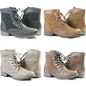 womens combat style boots target combat boots ankle high fashion flower lace design faux leather ebay