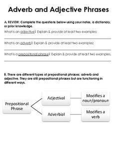 grade prepositional phrase worksheet  answers