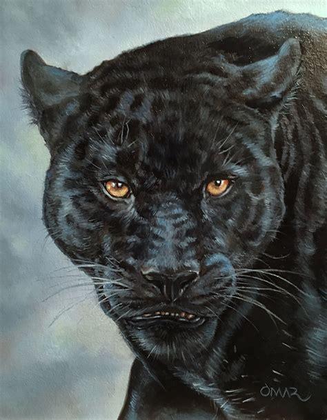 black jaguar oil painting  omar morsy animales