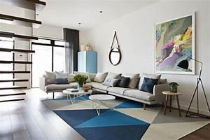 salon contemporain avec un grand tapis With nettoyage tapis avec canapé minimaliste