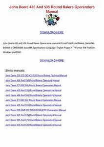 John Deere 435 And 535 Round Balers Operarato By Doris L